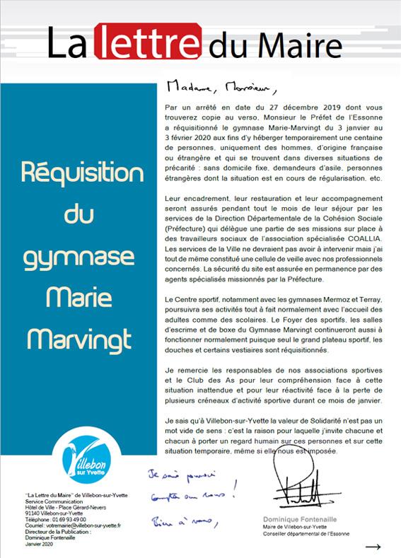 Lettre du Maire - Réquisition du gymnase Marie-Marvingt