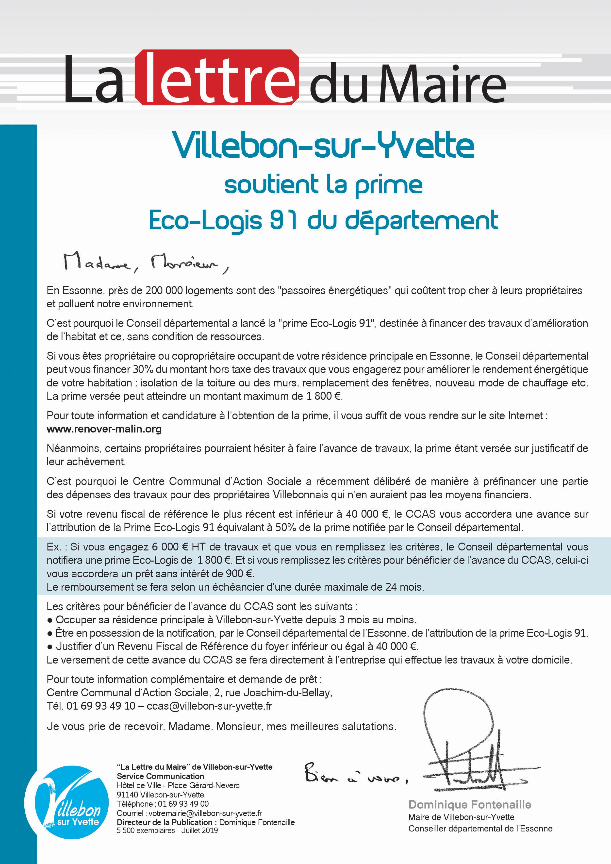 Lettre du Maire - Soutien de la prime Eco-Logis 91 du département