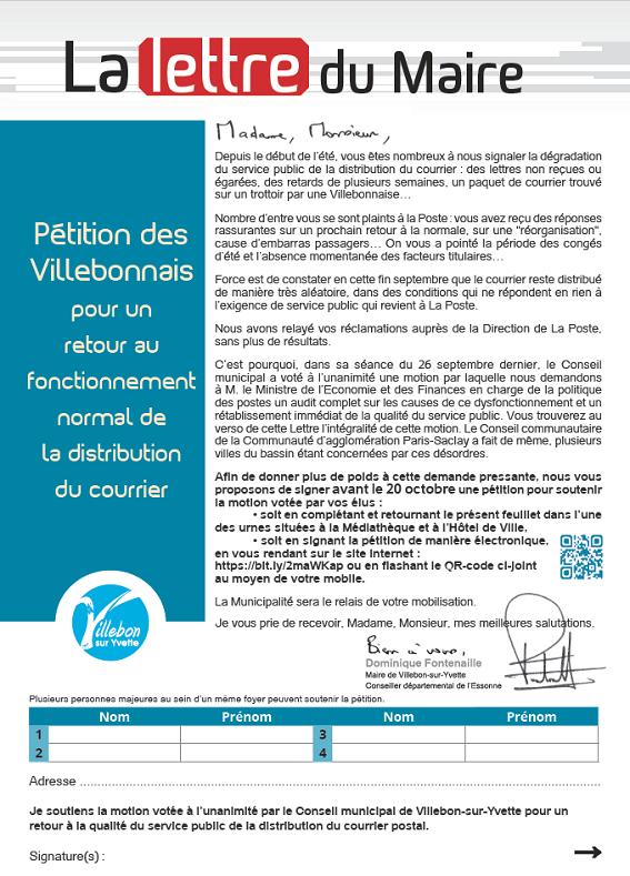 Lettre du Maire - Pétition distribution du courrier